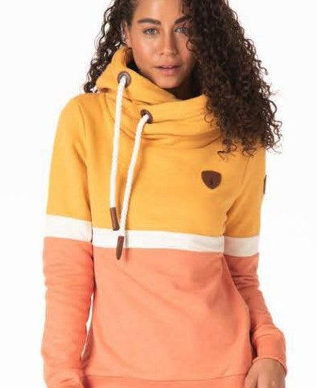 Wanakome Shana Terry Color Block Hoodie - Sunflower Oat