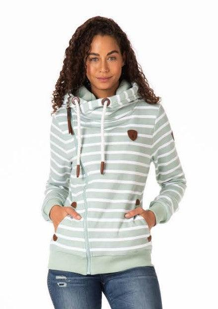Wanakome Athena Print Side Zip Hoodie - Green Bay Stripe