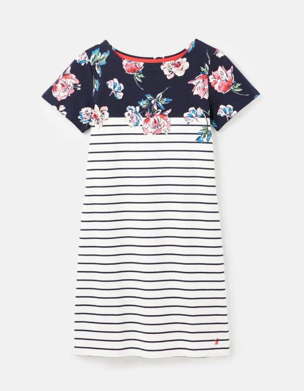 Joules Riviera Floral Printed Short Sleeve Stripe Dress