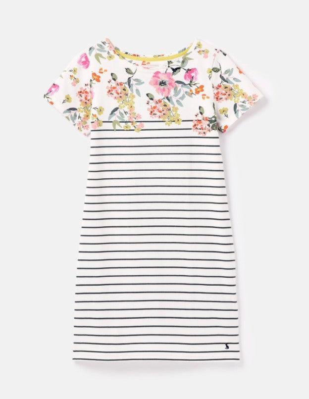 Joules Cream Floral Print Short Sleeve Striped Dress