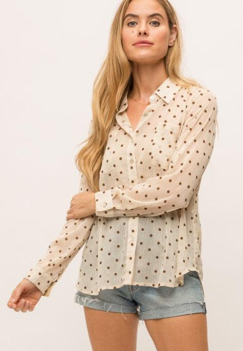 Mystree Cream Polka Dot Button Down Shirt