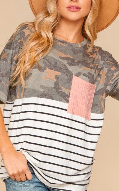 PLUS Camo & Stripe Color Block T-shirt