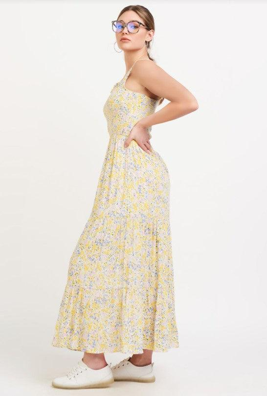 Dex smocked detail tiered maxi dress - pink/yellow ditsy floral