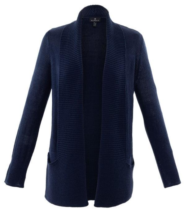 Marble Knit Cardigan - Navy