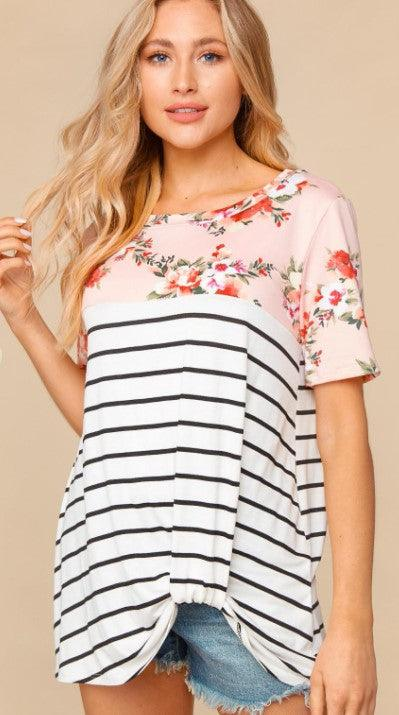 PLUS Floral Stripe knot twist t-shirt