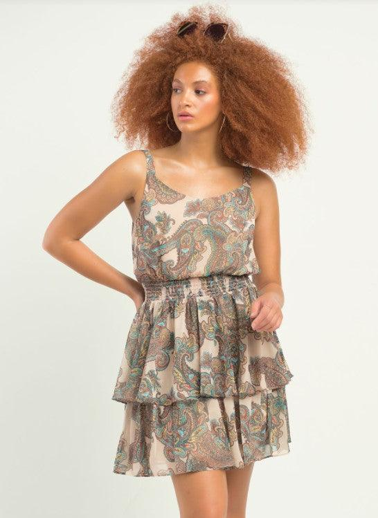 Dex Sleeveless Smocked Waist Tiered Printed Dress - blue/taupe/paisley