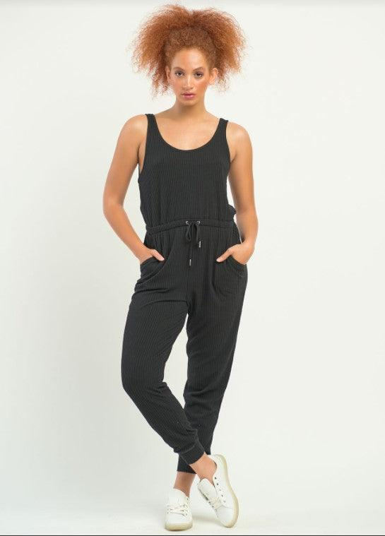 Dex sleeveless ribbed jumpsuit - black