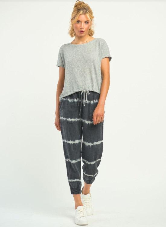 Dex Tie Dye Striped Jogger - black tie dye stripe