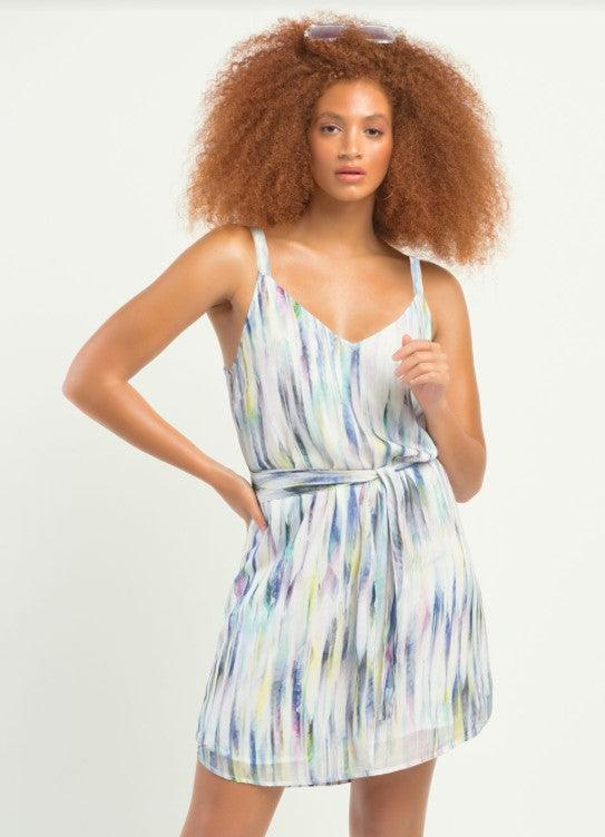 Dex sleeveless printed belted dress - watercolor pastel