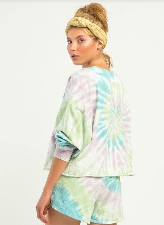 Dex multi colored tie dye pullover - pastel tie dye