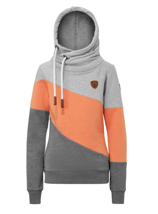 Wanakome Terry Color block Pullover Hoodie in Dusted Clay