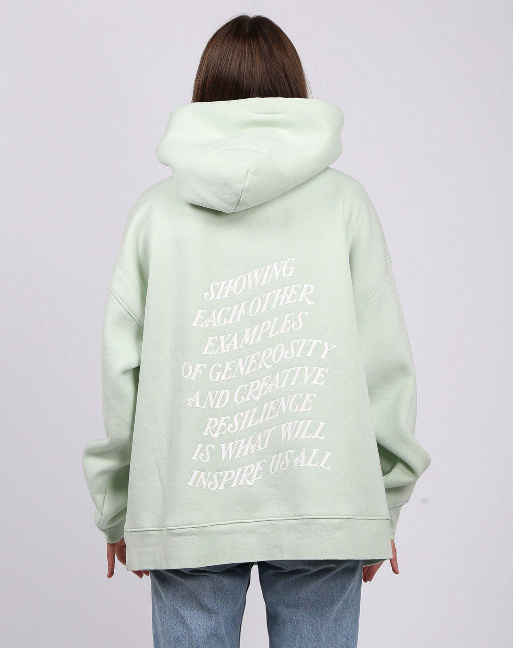 "Brunette the Label ""Inspire us"" Big Sister Hoodie - Mint Gelato"