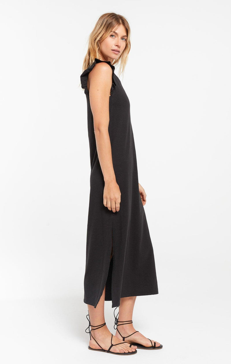 Z Supply Blakely Slub Ruffle Dress - black
