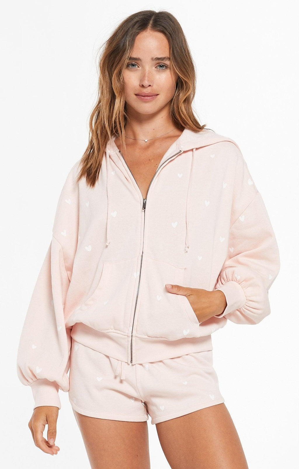 Z supply hearts full fleece hoodie - rose quartz