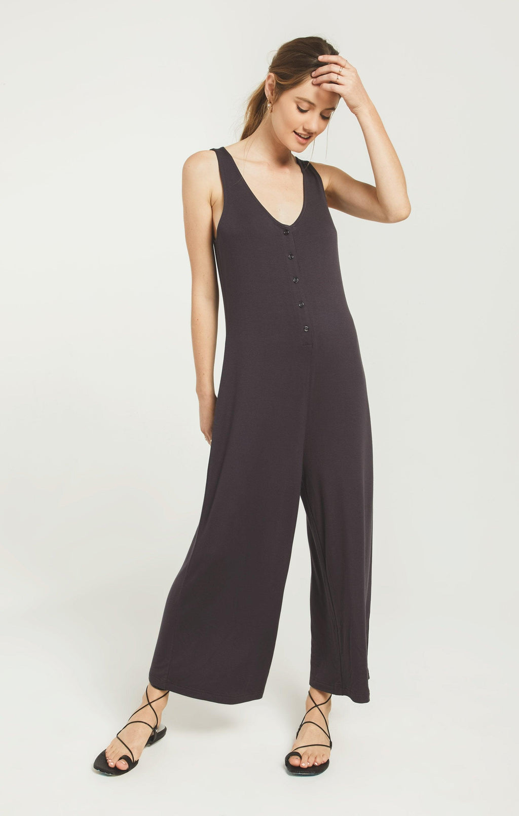 Z Supply washed black wide leg jumpsuit