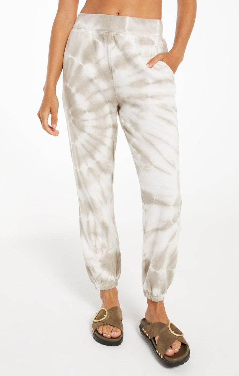 Z Supply Emery spiral tie dye jogger - taupe