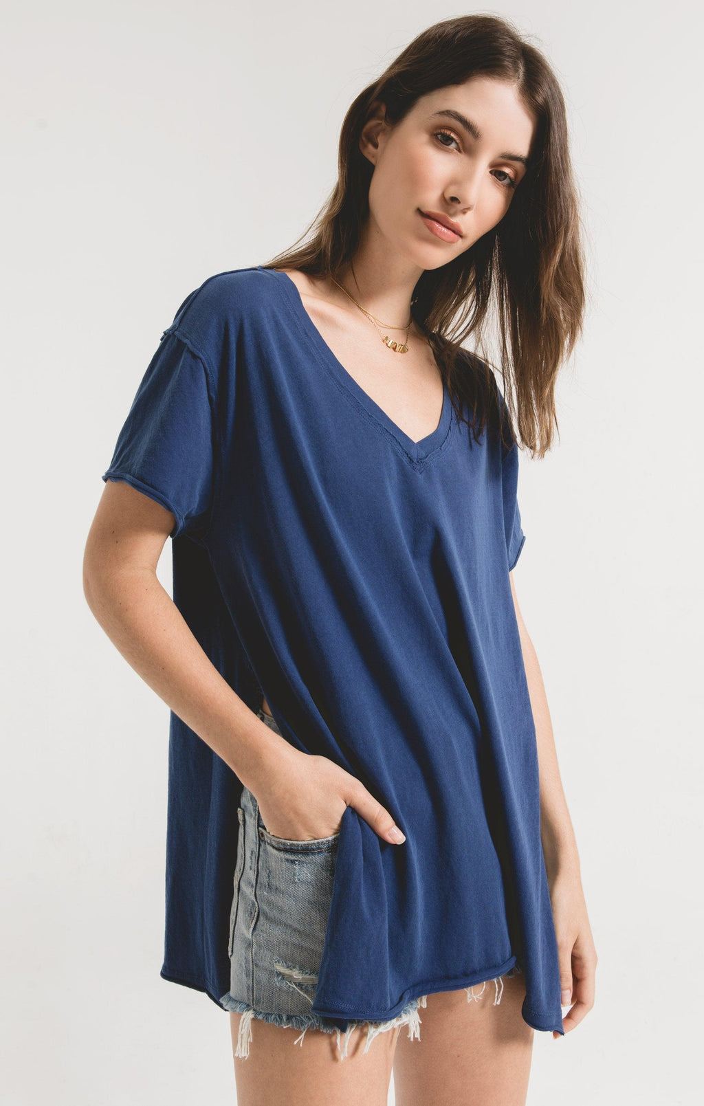 Z SUPPLY indigo blue organic cotton side slit tunic top