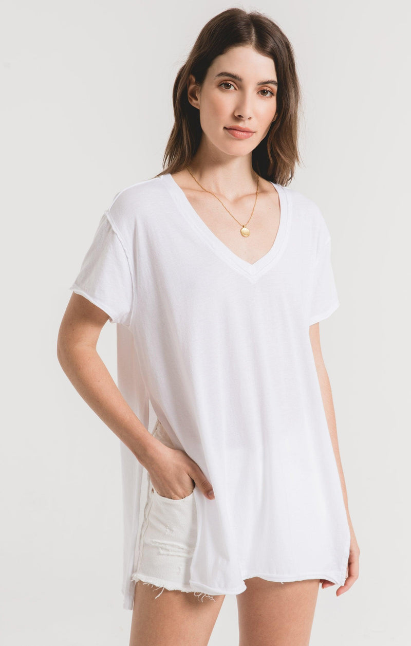 Z SUPPLY organic side  slit white tunic top