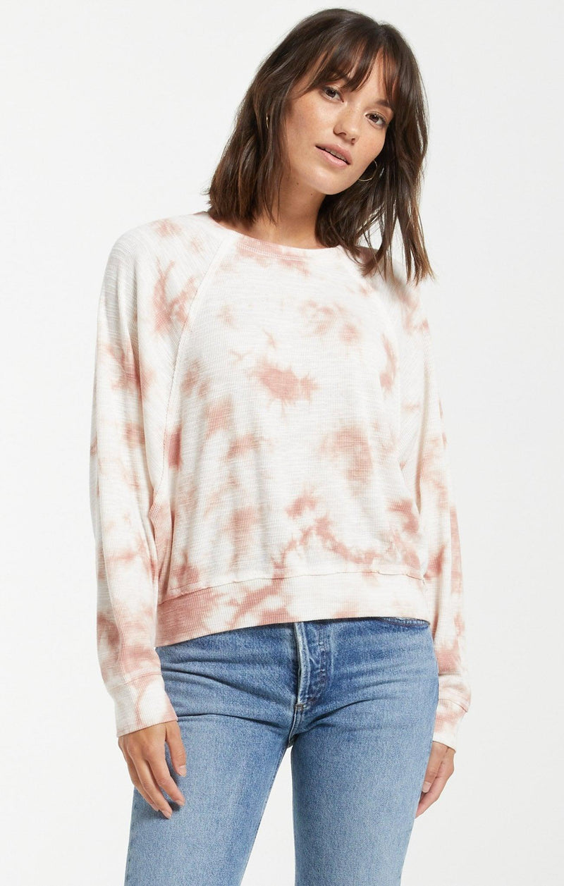 Z Supply Claire Cloud Tie Dye Top - Rose Mauve
