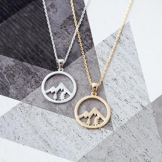Mountain and Trees in a circle necklace- gold
