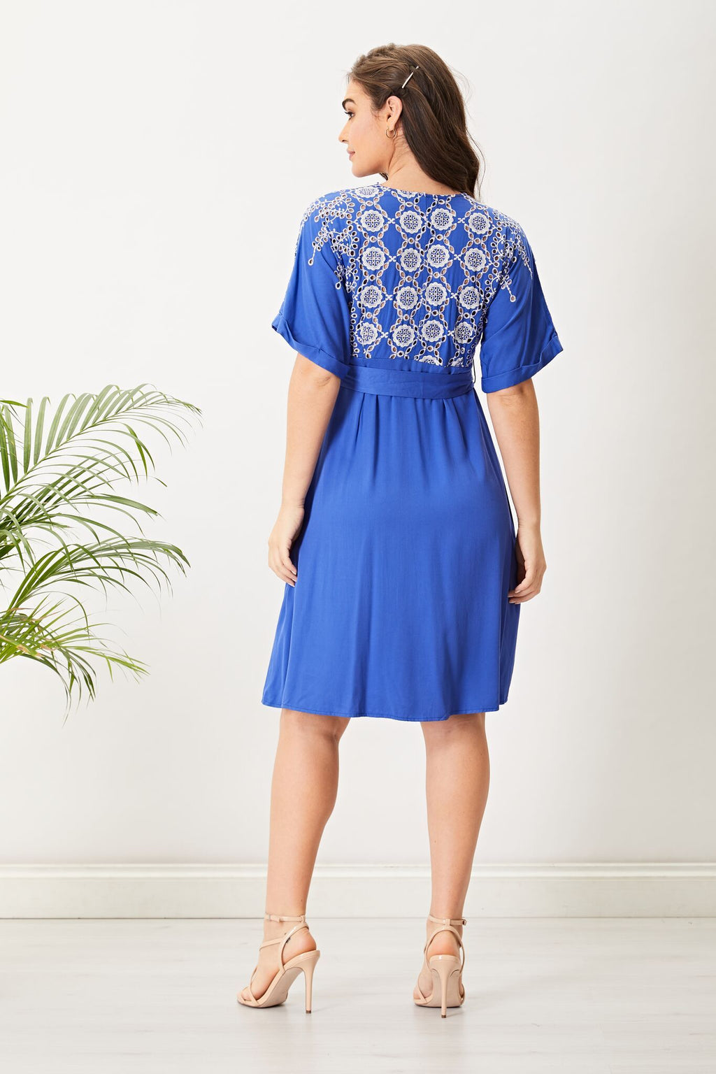 AngelEye Blue Broderie Anglaise Short Sleeve Mini Dress