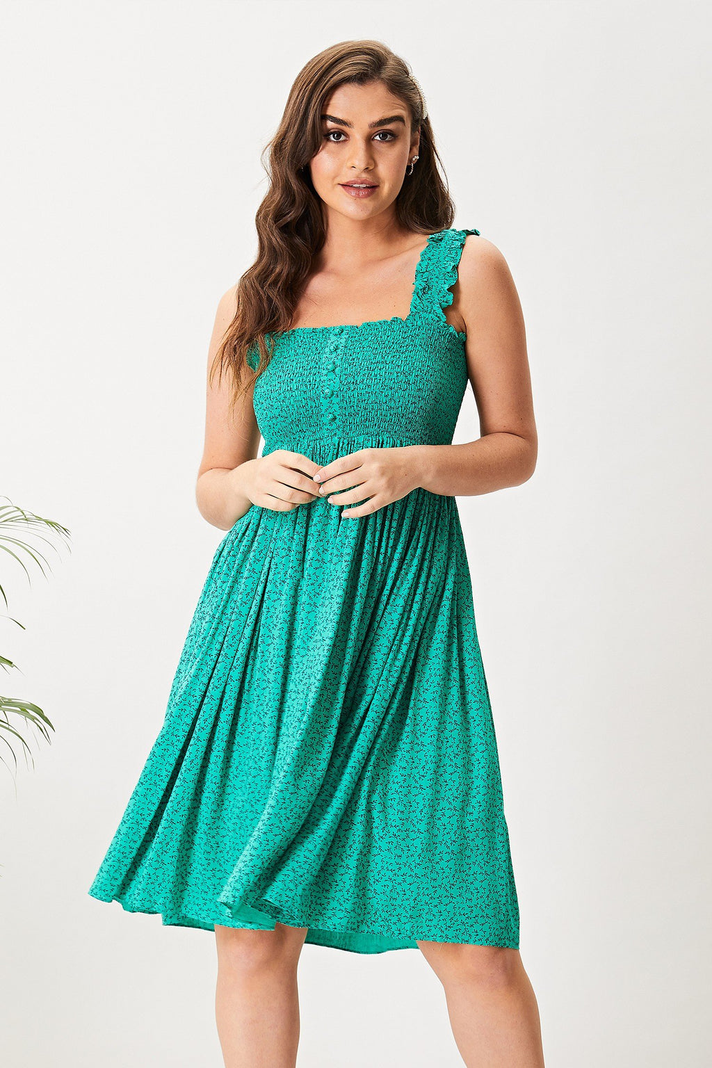 AngelEye Green Floral Shirred Cami Midi Dress