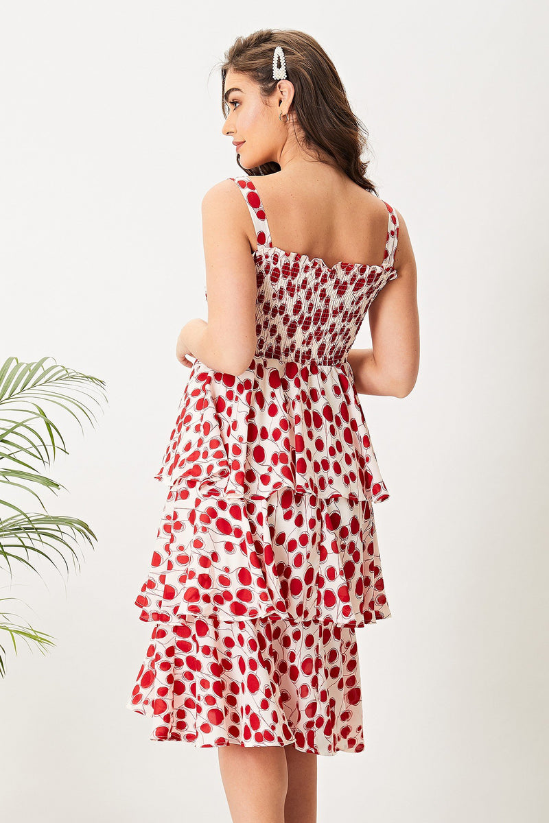AngelEye red dot ruffle cami midi dress