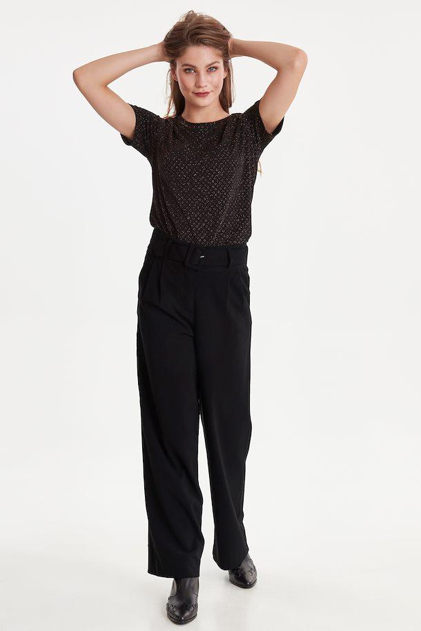 Ichi black pants with matching belt