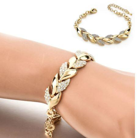 Gold Bracelet With  Rhinestone Leaves