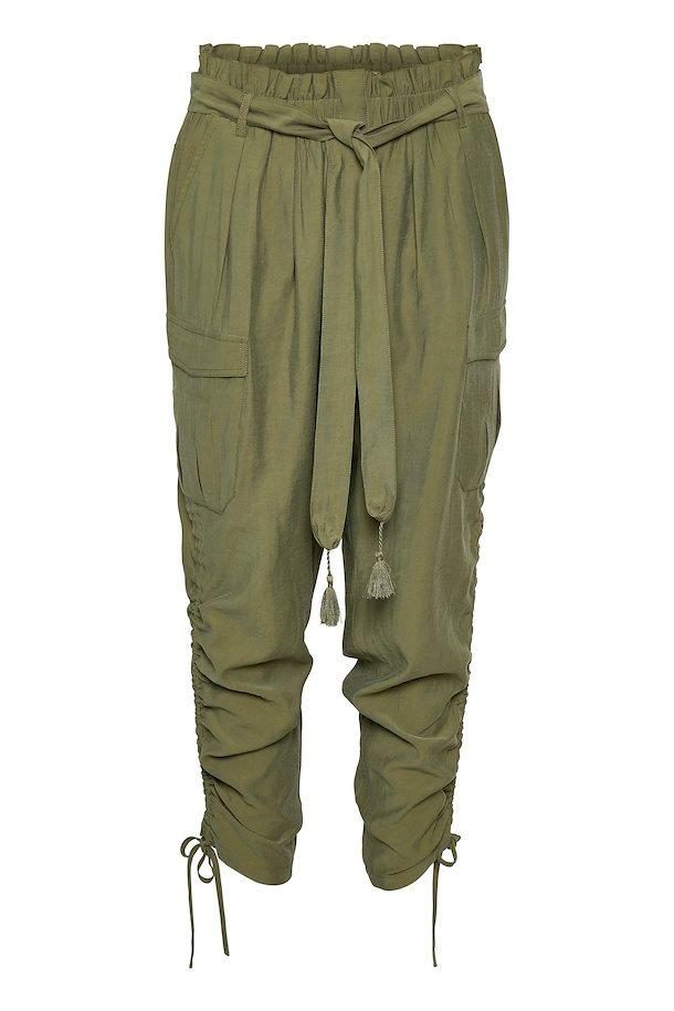 Cream Burnt Olive Casual Pants W/ Tassel Waist Tie