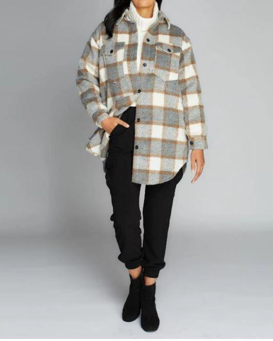 Button Down Plaid Coat - Taupe