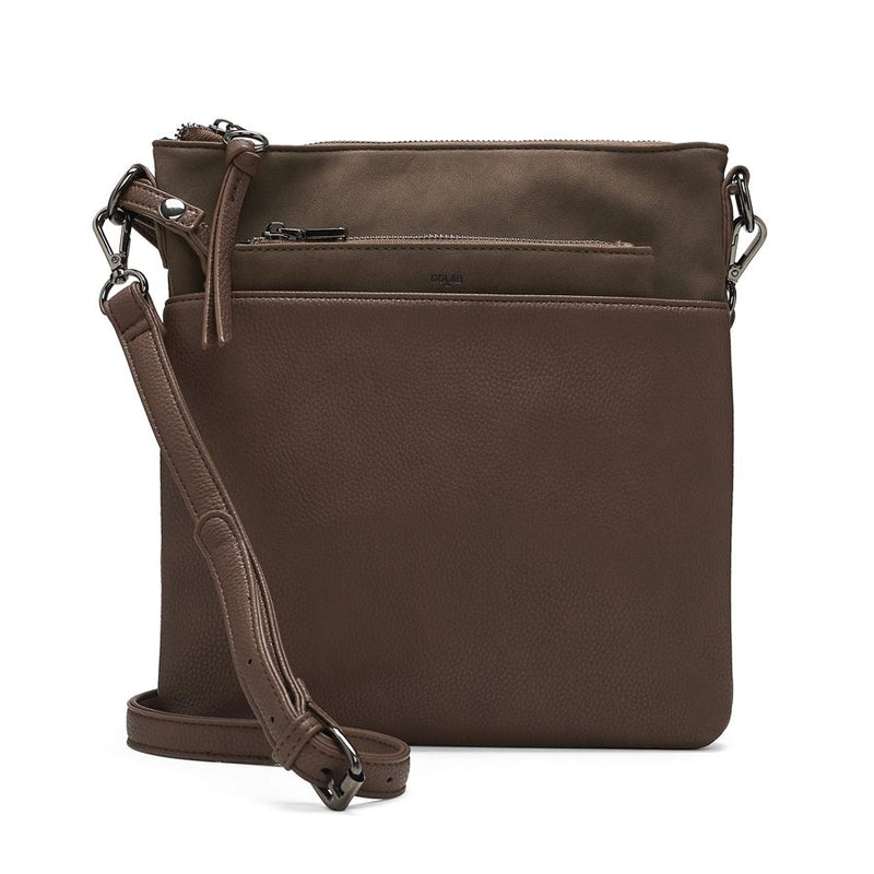 Co-Lab bark colored faux suede cross body