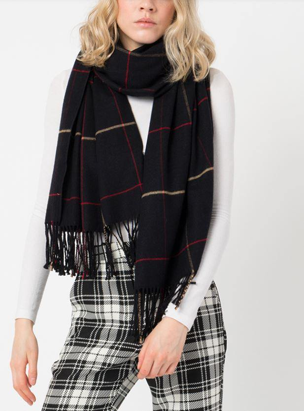 Black cashmere feel fringed scarf - Black