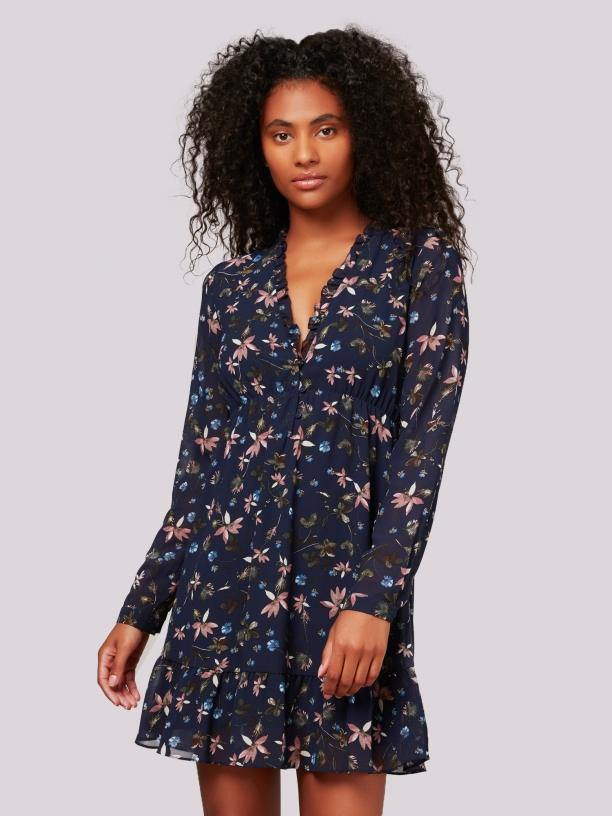 Apricot navy floral v neck chiffon dress