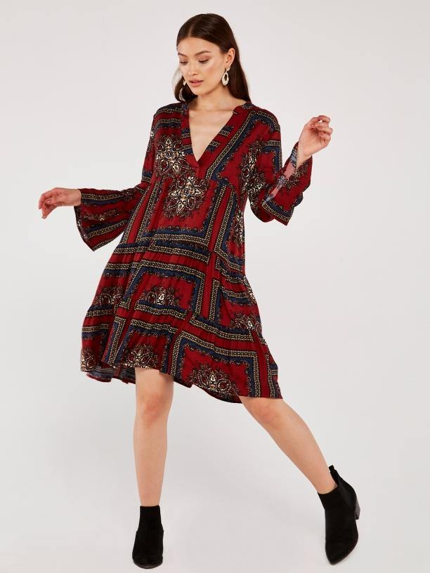Apricot tiered scarf print dress - burgundy