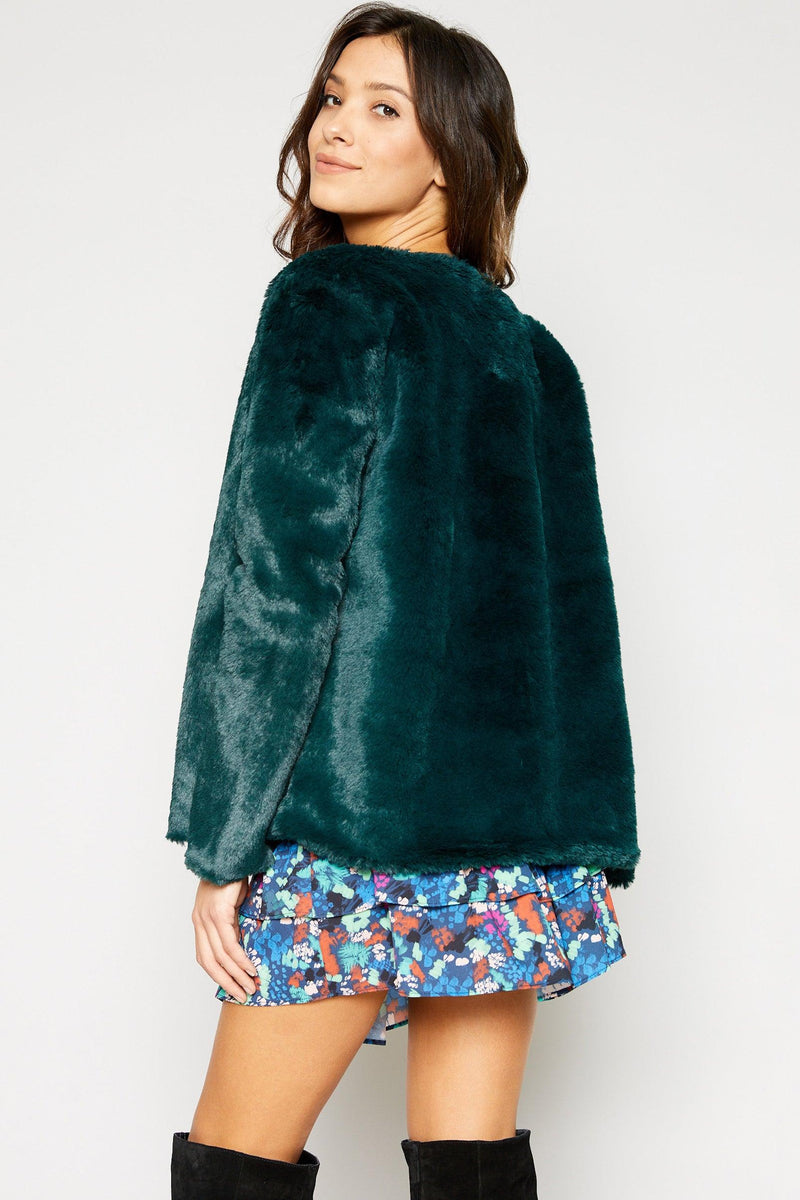 Sadie & Sage Forest Green Jagger Fur Jacket