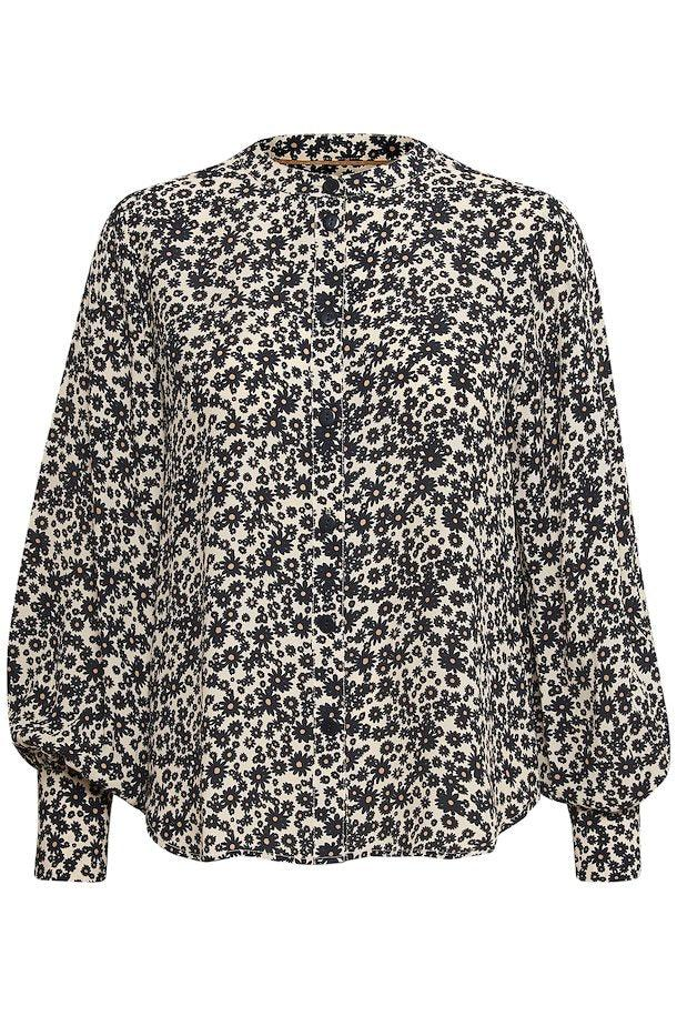 Part Two butter/dark navy flower print blouse