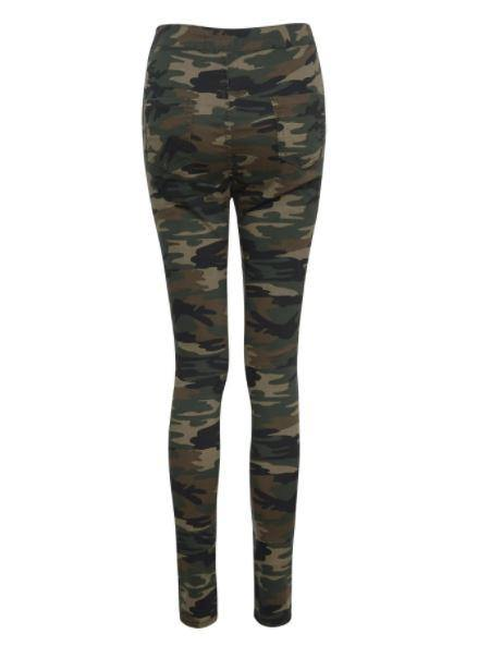 Camo denim pants