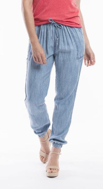 Orientique denim blue pants with tie waist