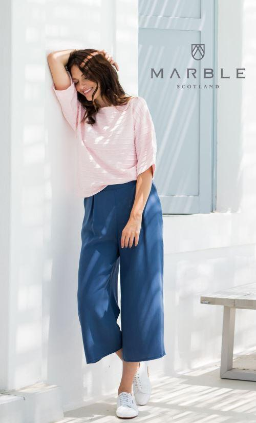 Marble Tencel Pants W/ Pockets - Blue