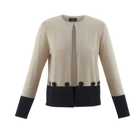 Marble Beige/Black Cardi W/ Button Detail