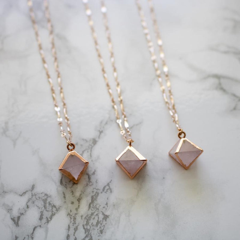Rose Quartz & Rose Gold Pyramid Necklace