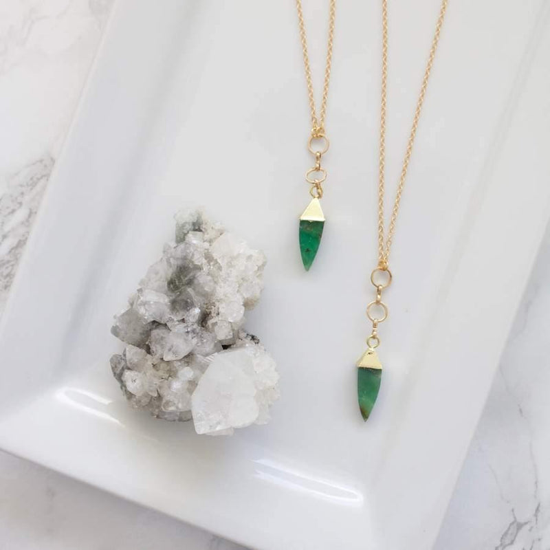 Chrysoprase pyramid shape pendant necklace