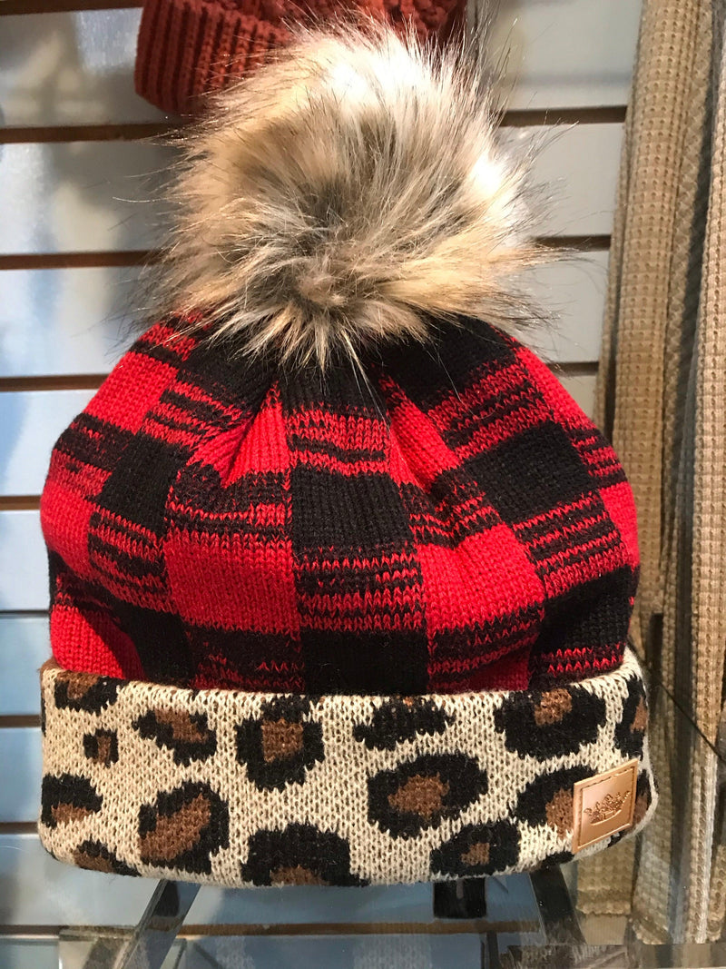 Red check with leopard fleece lined hat with pom