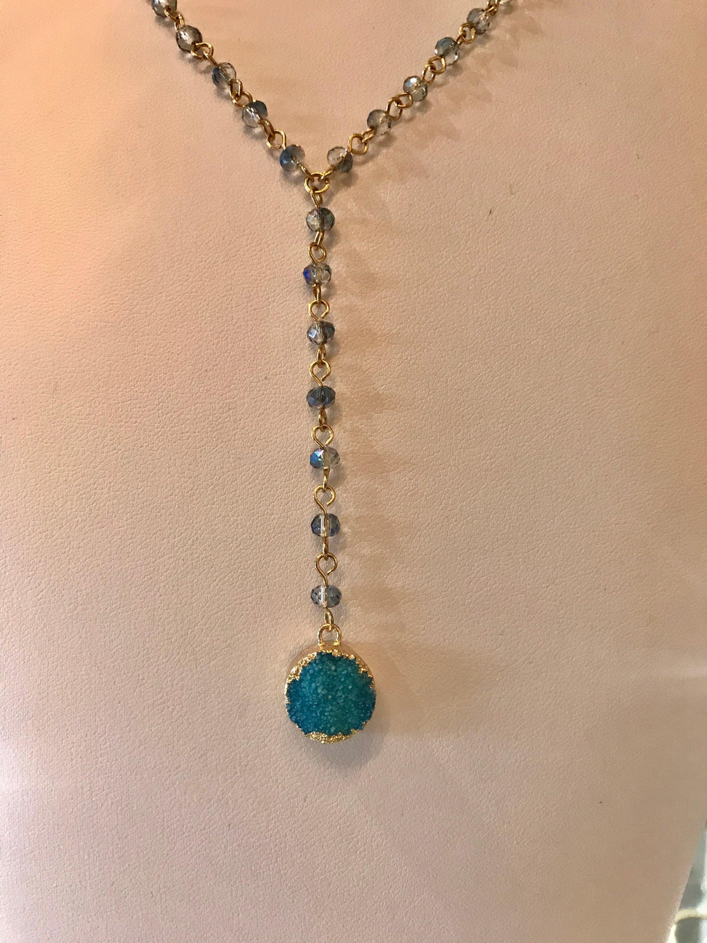 Garbo Blue Round Druzy Glass Bead Layer Necklace