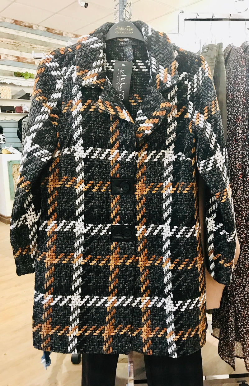 Michael Tyler plaid coat - black/cognac
