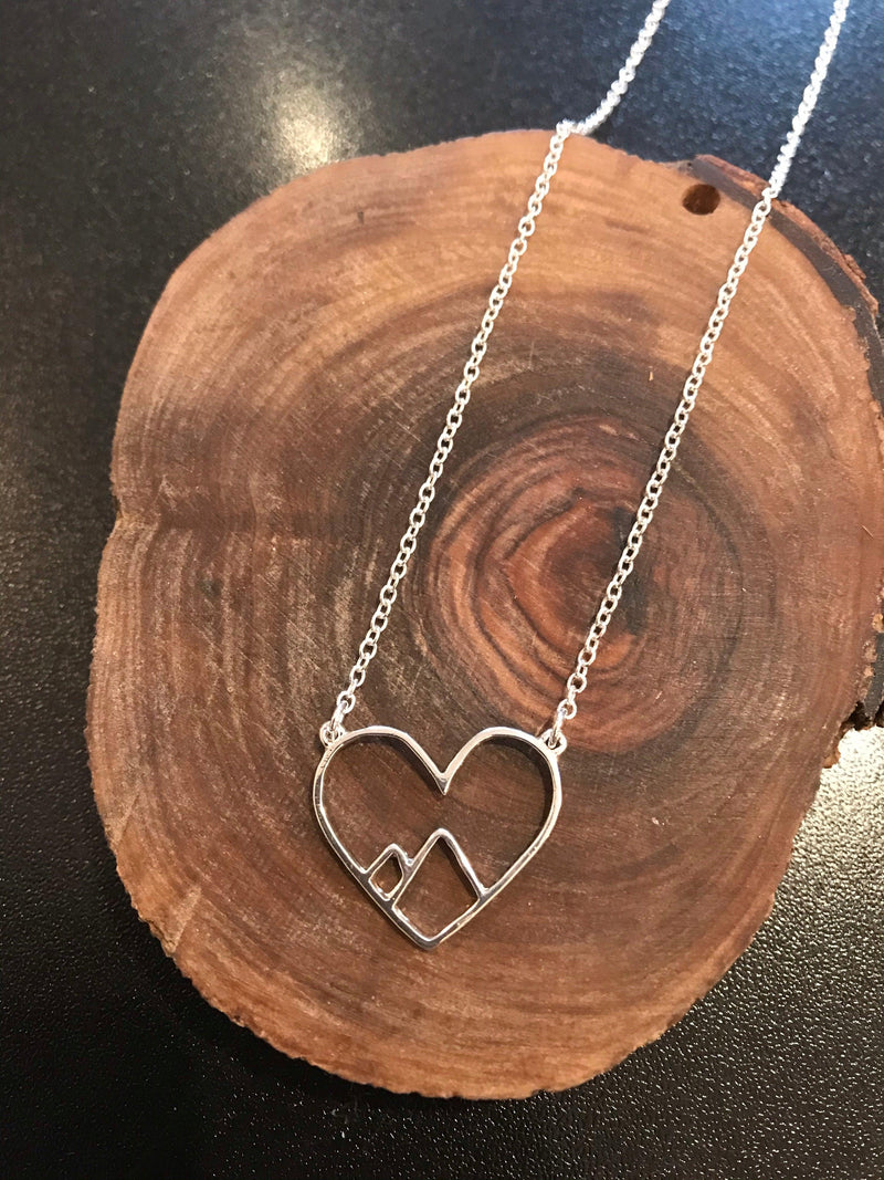 Tiny Line Hollow Out Open love Heart mountain peak Necklace