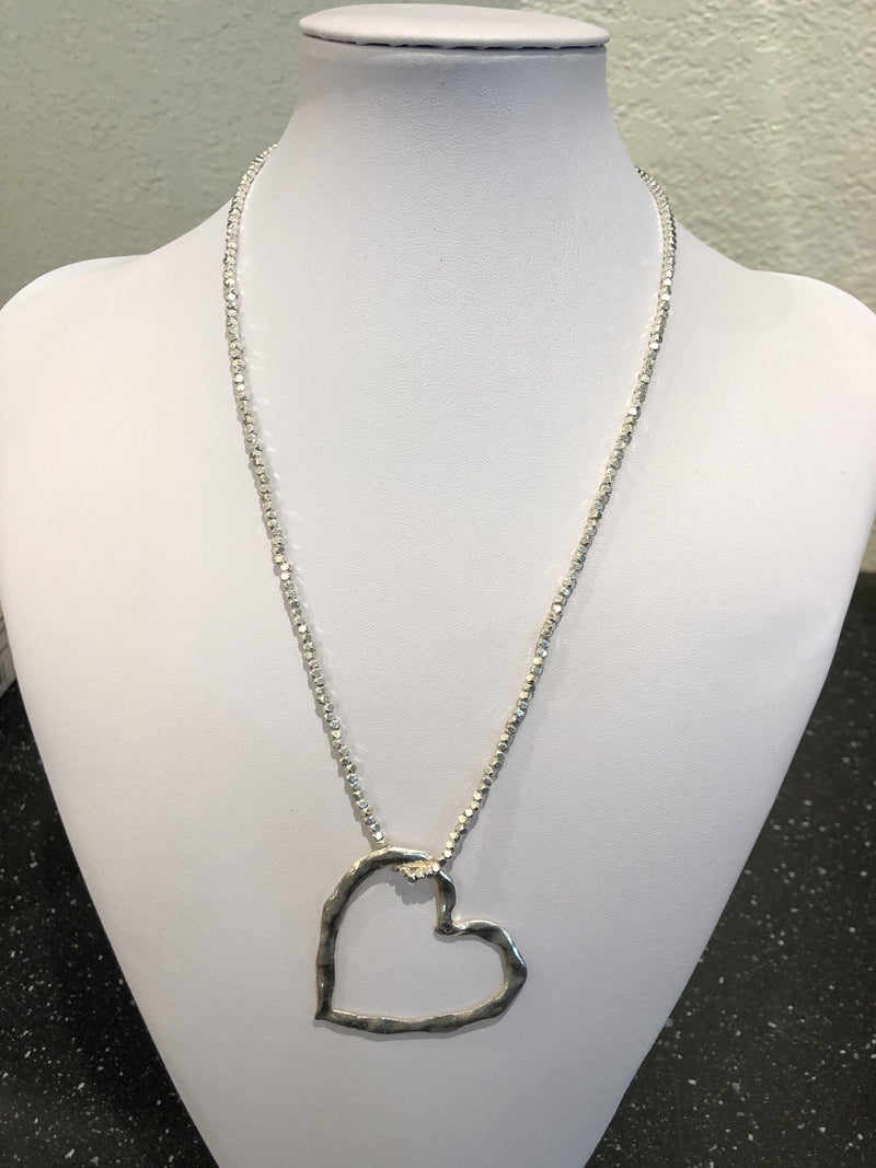 Beaten Heart Necklace W/ Threaded Silver Cube Chain