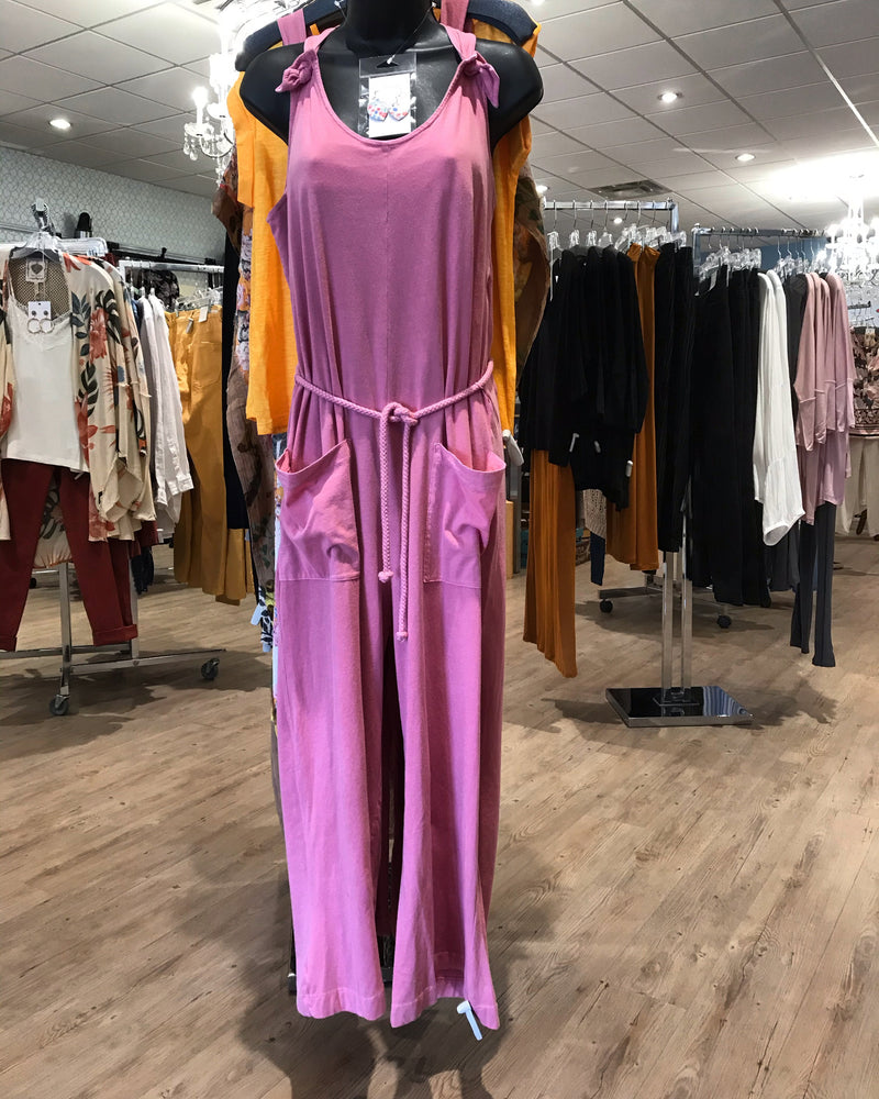 Indi & Cold lychee sleeveless jumpsuit with rope tie waist