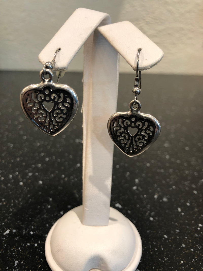 Lucy The First lacey heart silver earrings